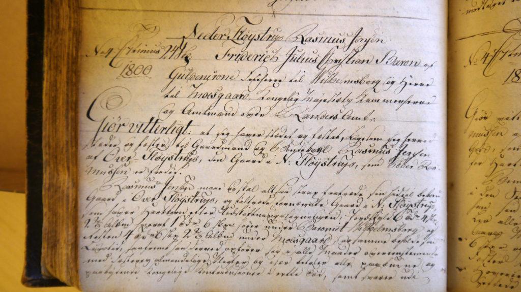 Fæsteprotokollen Moesgaard Gods, Rasmus Jensens fæstebrev 22. juli 1800